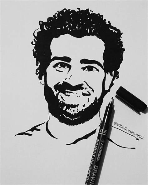 Jaket Parasut Black Ink Liverpool my portrait of mohamed salah ghaly liverpool ink drawing my sketch