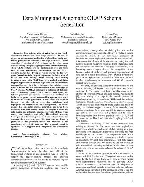 (PDF) Data mining and automatic OLAP schema generation