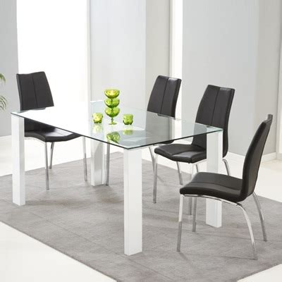 Lorenzo Glass 150cm Dining Table With 6 Carter Black Lorenzo Dining Table