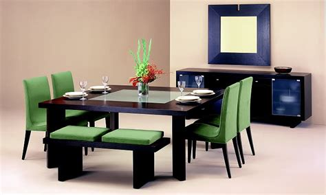 Modern Dining Room Sets Wonderful Modern Dining Room Sets With Bench Green Color Brown Interior