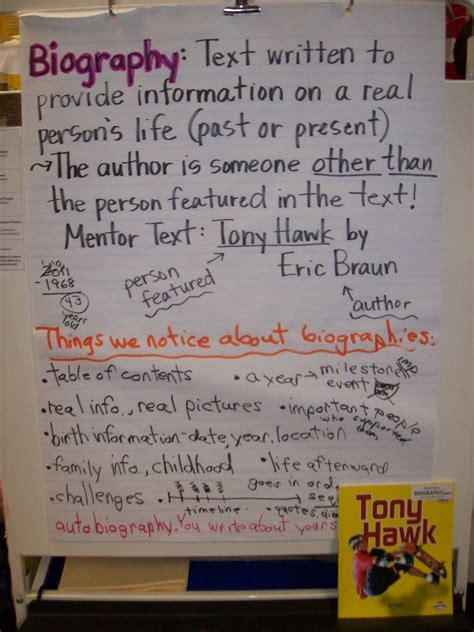 biography vs autobiography anchor chart 78 best images about writing biographies on pinterest