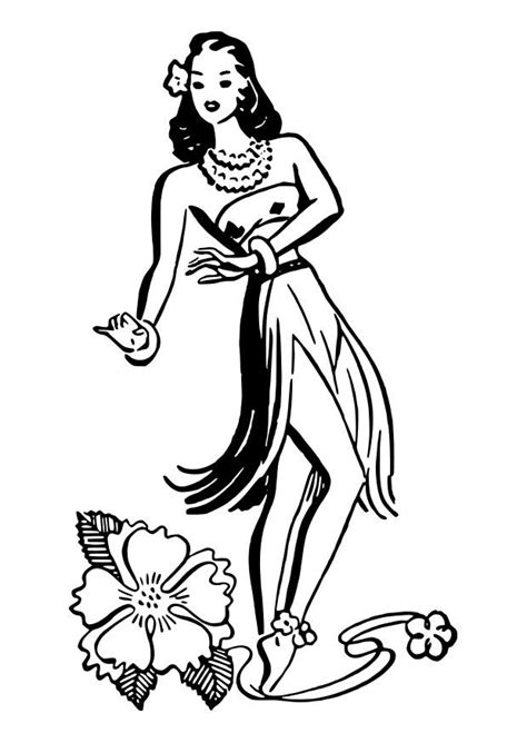 free coloring pages of hula dancer
