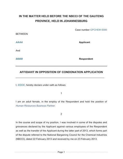 south affidavit template affidavit in opposition to condonation application