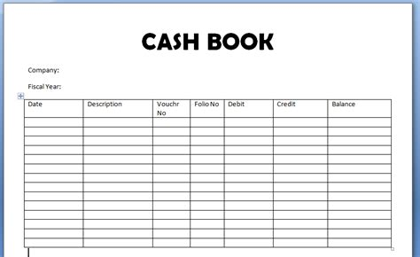 cash book format and exle of it
