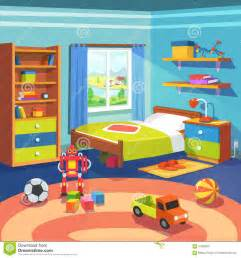 Room Picture boy room with bed cupboard and toys on the floor stock vector image