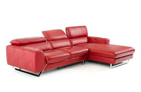 Divani Casa Devon Modern Red Leather Sectional Sofa