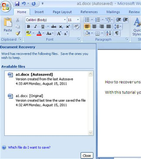 How To Restore Word Document
