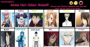 anime hair color meaning anime hair color meme by brookhayes12
