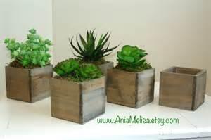 wood box wood boxes succulent planter flower rustic pot square