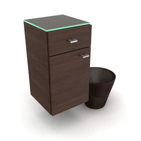 Waste Basket Cabinet by Brown Bathroom Cabinet And Matching Brown Waste Basket 3d