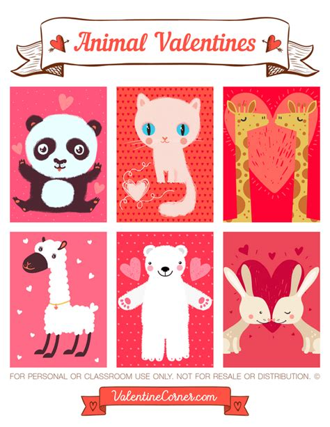 printable animal valentines day cards printable animal valentines