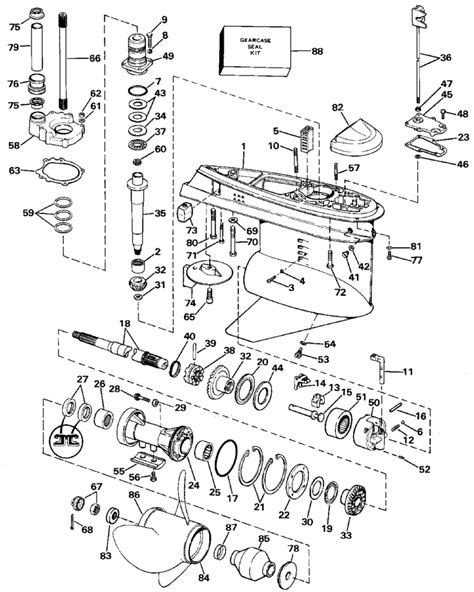 mercruiser outdrive parts diagram omc drive lower gearcase parts for 1987 4 3 l