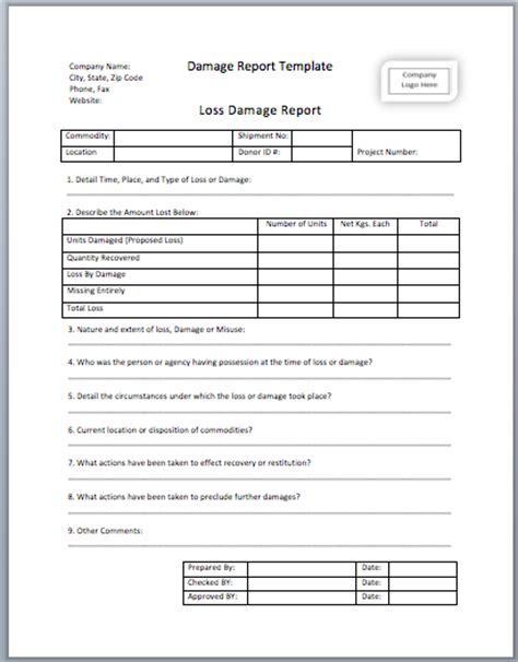 vehicle damage report form template damage report template printable templates