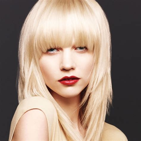 hairstyles blonde fringe layered hairstyle with thick fringe party fall evening