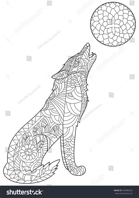 Wolf Zentangle Outline by Wolf Coloring Book For Adults Vector Illustration Anti Stress Coloring For Zentangle