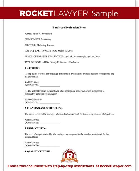 website service agreement template employee evaluation form performance review rocket lawyer