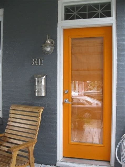 blue house orange door updated design for a cozy front porch my great outdoors