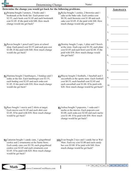 Money Word Problems Worksheets by The World S Catalog Of Ideas