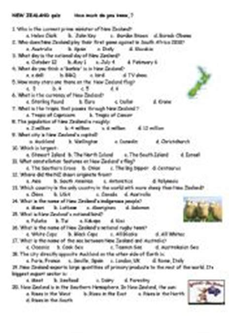 australia new zealand quiz worksheet free esl english teaching worksheets new zealand