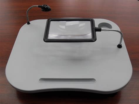 lighted laptop desk tray cushioned tray bed reading desk magnifying glass light