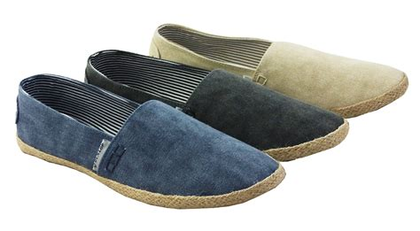 new mens dunlop grey sand blue canvas espadrilles pumps