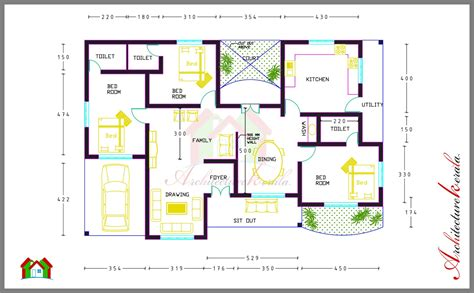 house plans by dimensions 3 bed room house plan with room dimensions architecture kerala