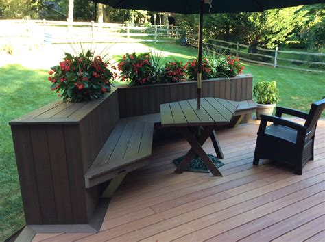 deck planter bench plenty of space for outdoor dining fences decks patios