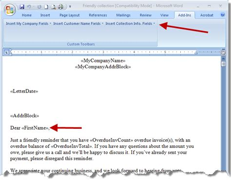Quickbooks Customer Letter Templates Customizing Word Docs With Quickbooks Information