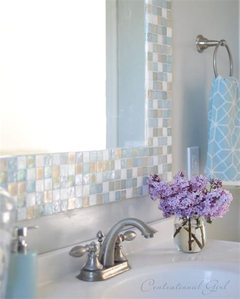 mosaic tile around bathroom mirror diy mosaic tile bathroom mirror centsational girl