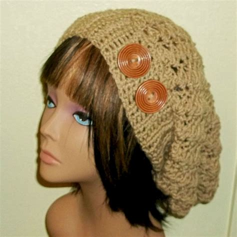items similar to slouchy womens slouchy crochet hat rasta beige taupe womens tam beret