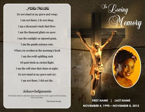 memorial cards templates jesus cross bifold funeral card template for funeral
