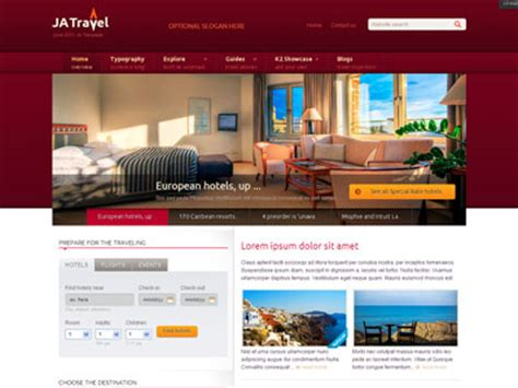 travel portal templates ja travel joomla destination template joomla search