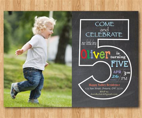 5th Birthday Invitation Cards Printable Chalkboard 5th Birthday Invitation With Picture Fifth