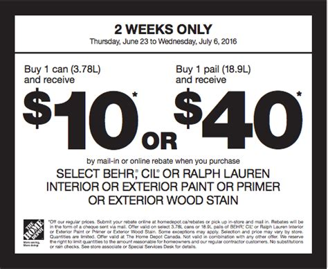 The Home Depot Canada Paint Coupons: Save $10 or $40 By