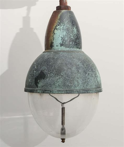 Copper Shade Pendant Light Vintage Copper Pendant Light With Glass Shade For Sale At 1stdibs