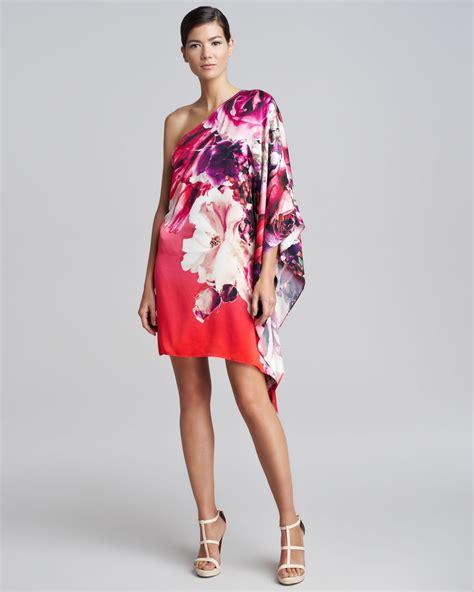 Cavali Dress roberto cavalli one shoulder draped floral dress in lyst