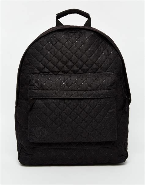 Quilted Backpacks For mi pac quilted backpack in black for lyst