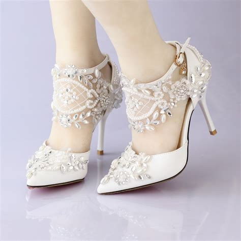 Pearl Bridal Shoes by New Lace Flower Bridal Dress Shoes Pointed Toe High Heels