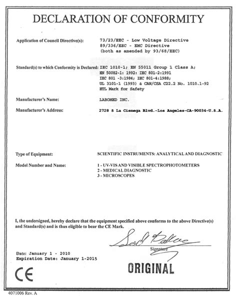 ce certificate of conformity template ce declaration of conformity template device