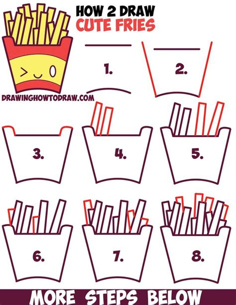 kids french first steps how to draw cute kawaii french fries with face on it easy step by step drawing tutorial for