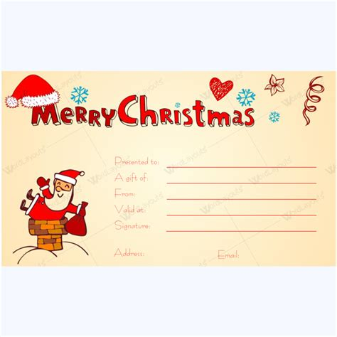free printable gift cards from santa printable christmas gift certificate featuring santa