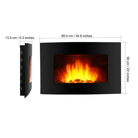 fireplace odor eliminator 2000w led backlit fireplace curved glass electric wall mounted place heater ebay
