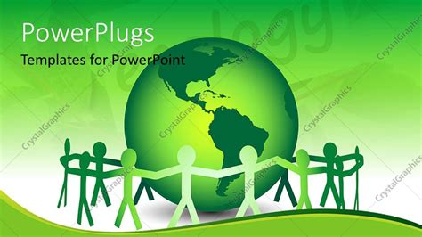 Powerpoint Template Team Of Paper Dolls Unite Around A Green Globe Go Green And Help Save The Saving Powerpoint Templates