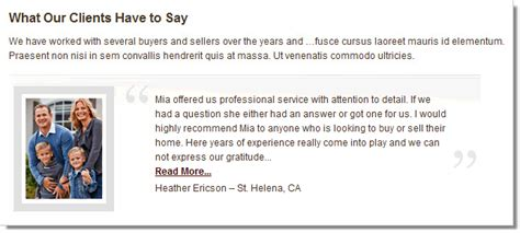 Testimonial Real testimonials add on for real estate idxcentral