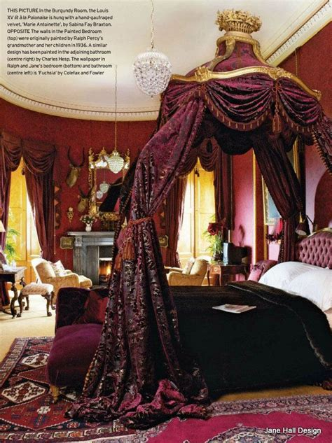 burgundy bedroom historical interior from alnwick castle in england this
