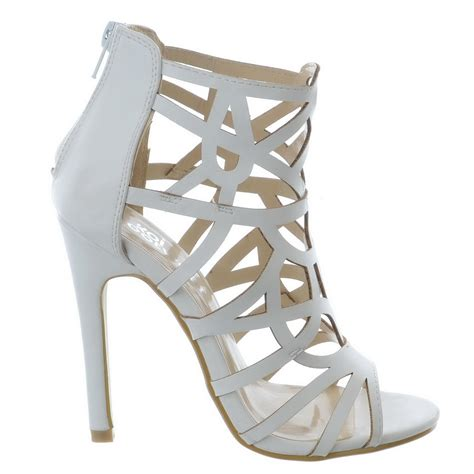 Sandal High Heels Laser new ankle high laser cut out strappy sandals stilettos peep toes high heel shoes ebay