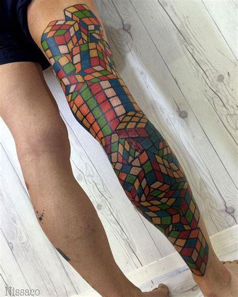 cube pattern tattoo rubik s cube leg sleeve tattoo quot all done thank you