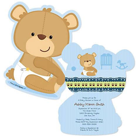 Teddy Baby Shower Invitations Wording by Baby Boy Teddy Shaped Baby Shower Invitations
