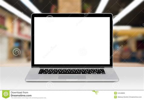 laptop on desk laptop mockup with white blank display on the desk in