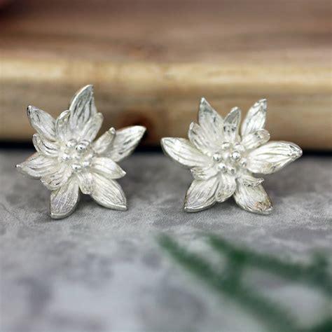 lotus flower earrings sterling silver by caroline brook